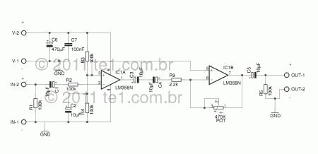 pre amplificador audio lm358 esquema 450x218 Circuito de pré amplificador de áudio com Circuito integrado amplificador operacional duplo LM358 Pré amplificadores Circuitos Áudio Amplificadores amplificador de audio