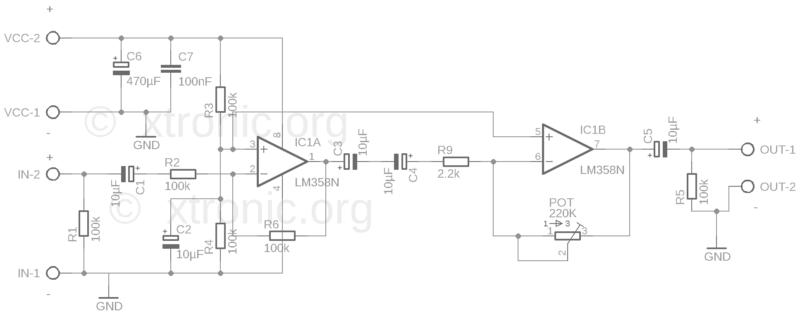 Esquema do pré-amplificador de áudio com circuito integrado amplificador operacional duplo lm358