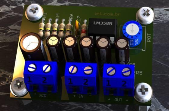 Circuito de pré-amplificador de áudio com circuito integrado amplificador operacional duplo lm358