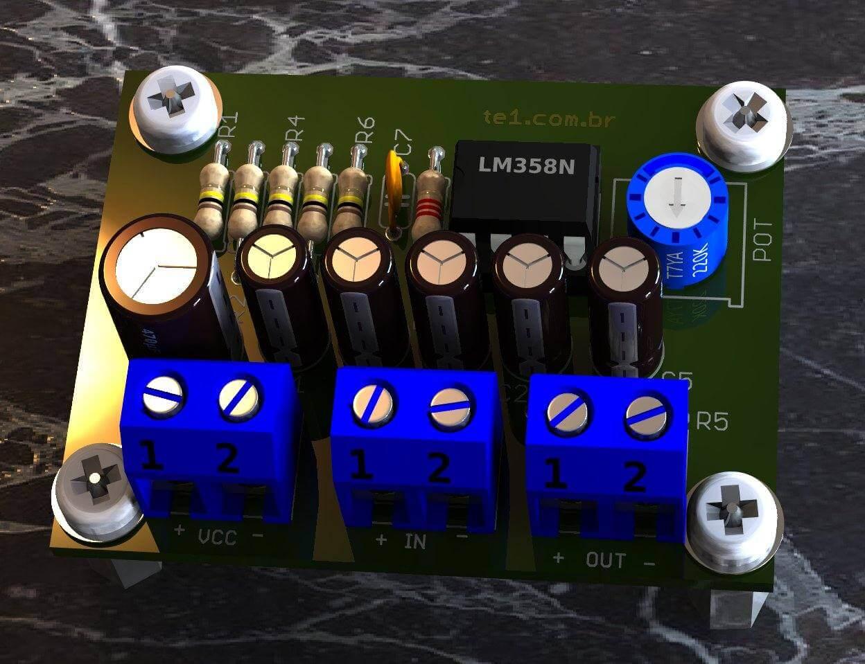 Circuito Operacional : Circuito de pré amplificador de áudio com lm op amp duplo te