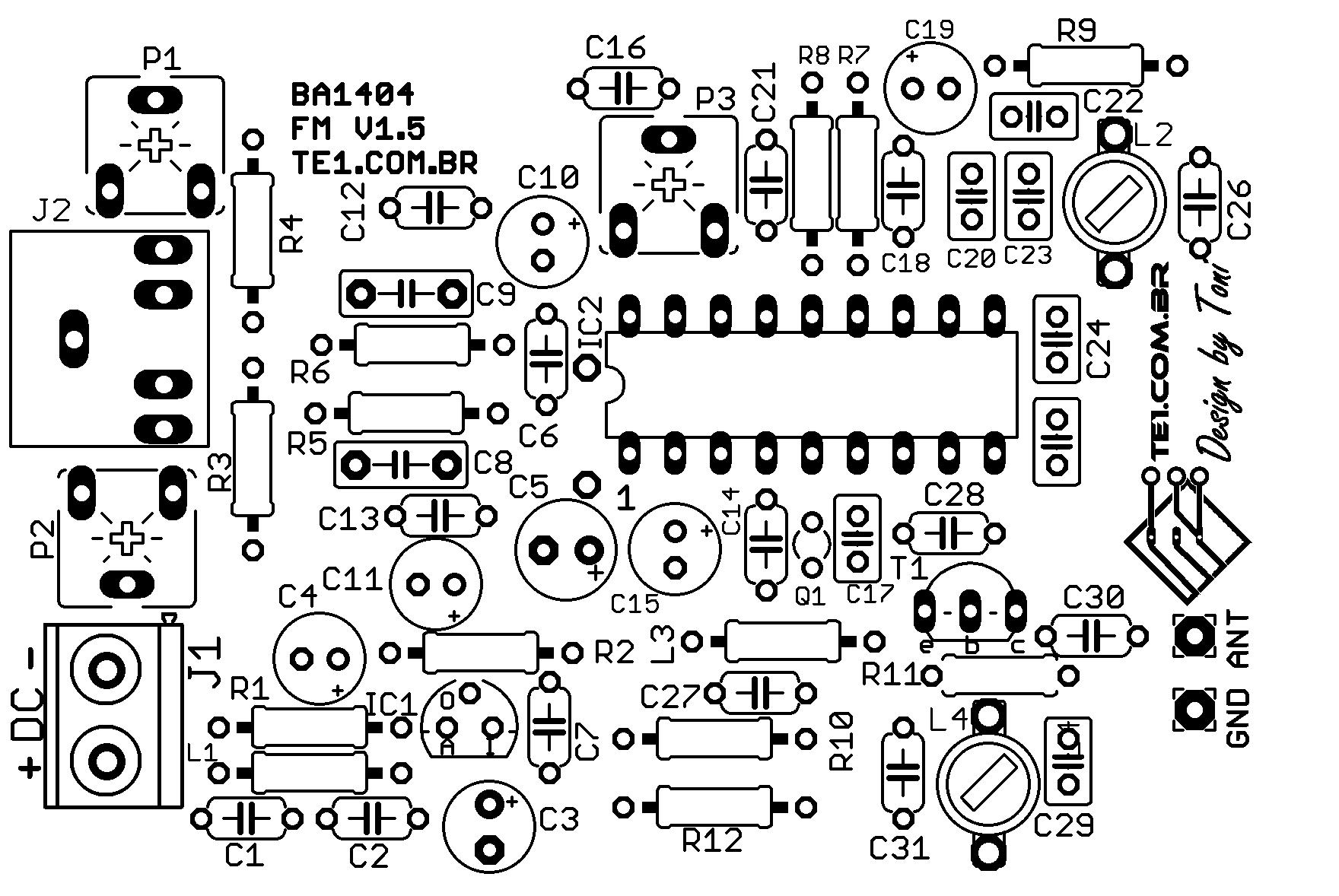 silk transmissor fm ba1404 estereo cristal 38KHZ Circuito de transmissor de FM estéreo com CI Ba1404 amplificado Transmissores Fm Transmissores e RF Transmissores estéreo Circuitos