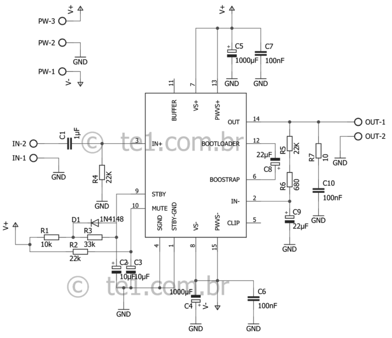 Esquema Circuito Com Tda7293 Amplificador Potência 100W