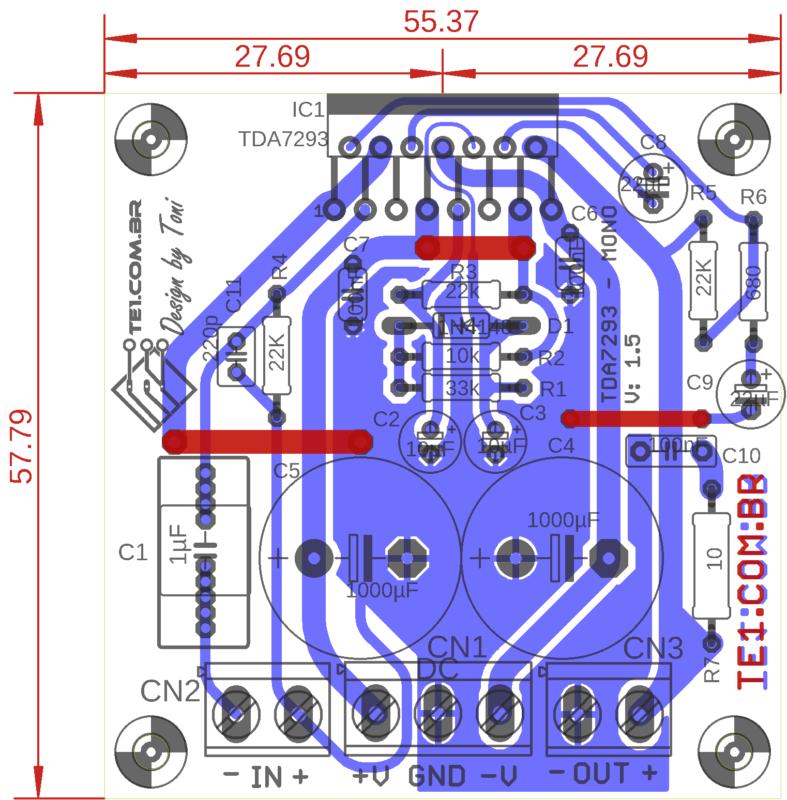 Placa De Circuito Impresso Vista Dos Componentes Placa De Circuito Impresso Esquema Circuito Com Tda7293 Amplificador Potência 100W