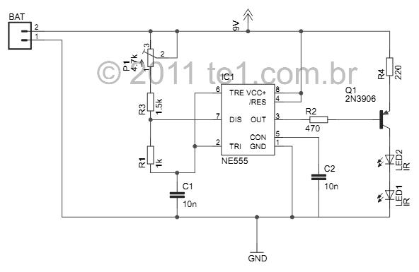 esquema bloqueador controle remoto ir Circuito bloqueador de controle remoto IR Com 555 Transmissores e RF led Controle Circuitos