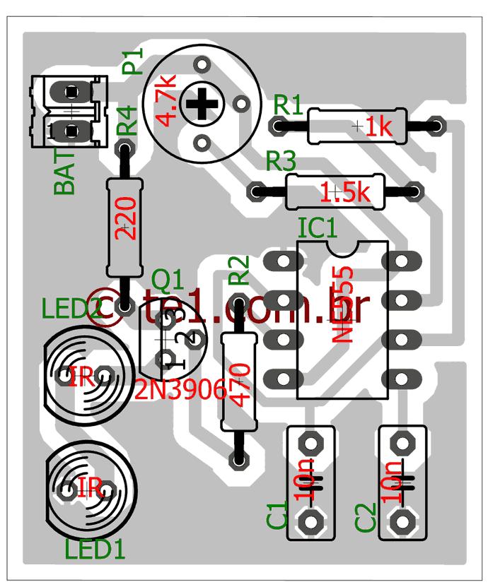 jammer controle remoto Circuito bloqueador de controle remoto IR Com 555 Transmissores e RF led Controle Circuitos