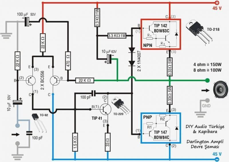 100W_Tip142_Tip147 Amplificador 100W Simples Potência Com Transistor Tip142 E Tip147