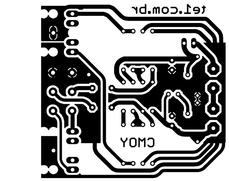 sugestão de placa de circuito impresso para montagem do amplificador de fones de ouvido