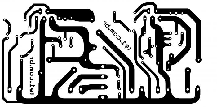 amplificador potencia lm1875 estereo placa pcb 700x346 Circuito amplificador de potência estéreo com lm1875 20 watts LM estéreo Circuitos Áudio