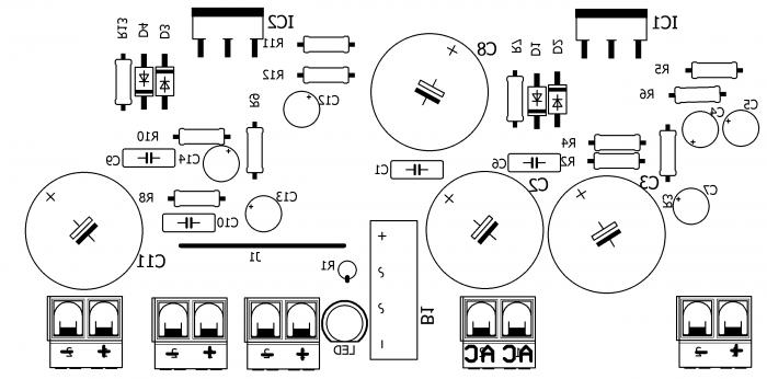amplificador potencia lm1875 estereo placa silk 700x346 Circuito amplificador de potência estéreo com lm1875 20 watts LM estéreo Circuitos Áudio
