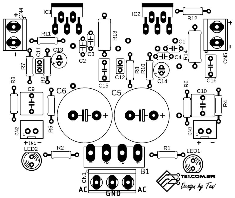 Lm1875 estéreo amplificador de potência 2 x 30w rms lm1875t placa de circuito impresso