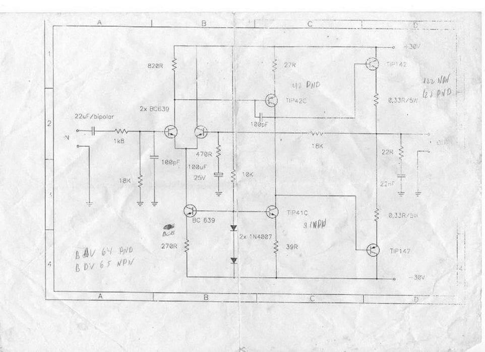 ... amplificador de 100 Watts com Transistores Darlington Tip142 e Tip 147.