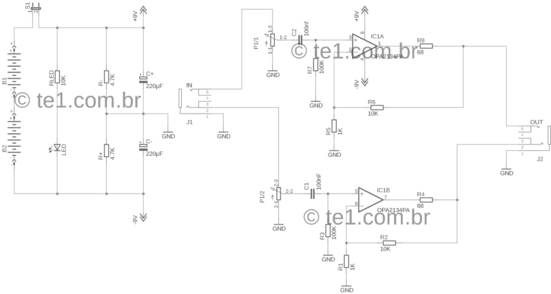 Cmoy circuito amplificador para fone de ouvido esquema com amplificador operacional