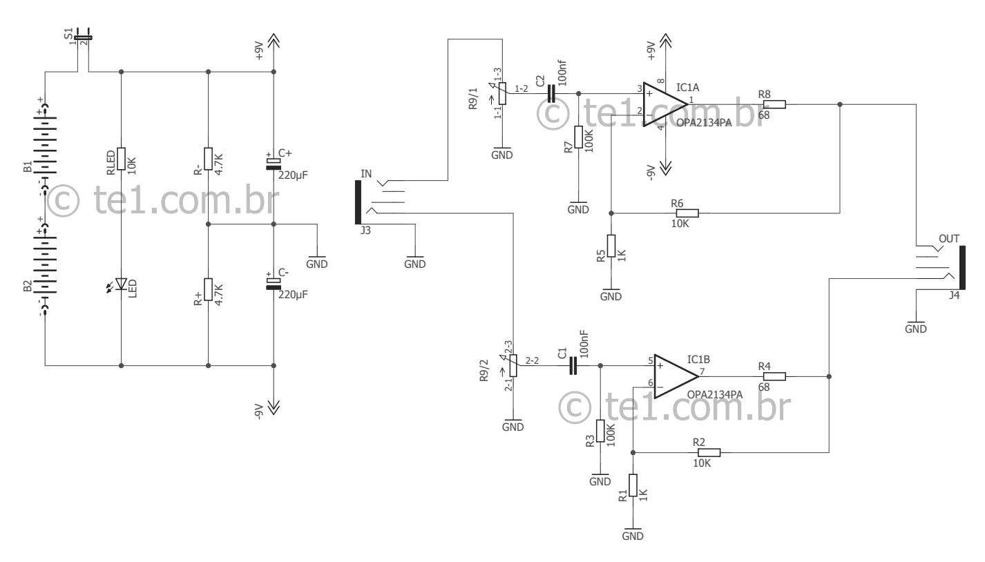 Circuito Amplificador : Cmoy circuito de amplificador estéreo para fones