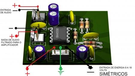 Filtro passa baixos ilustração 450x253 Filtro passa frequências baixas usando BA4558