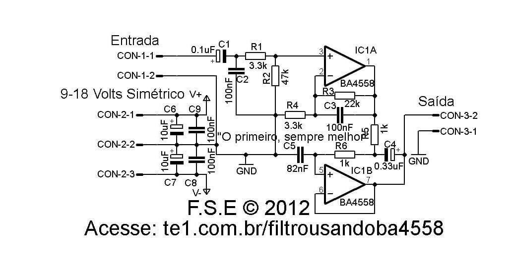 Fltro passa baixos Filtro passa frequências baixas usando BA4558