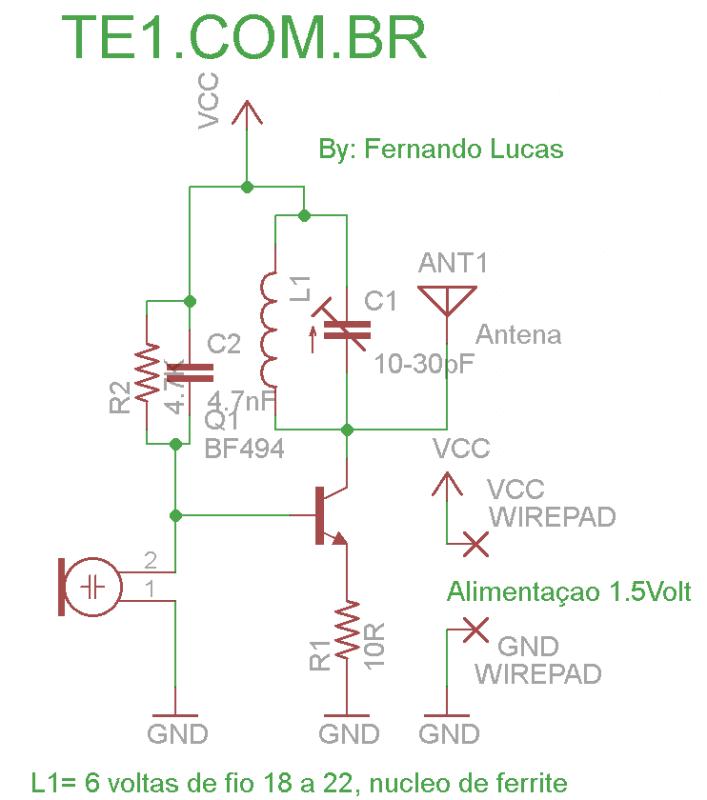 Micro spy micro transmissor de fm 1. 5v