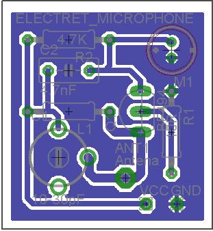 Placa do micro spy micro transmissor de fm 1. 5v