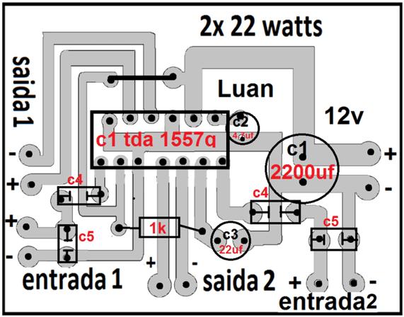 Tda1557 amplificador áudio para carro estéreo 22w placa de circuito impresso vista dos componentes