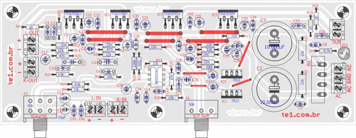, Amplificador de áudio Com Subwoofer 2.1 TDA2030 NE5532