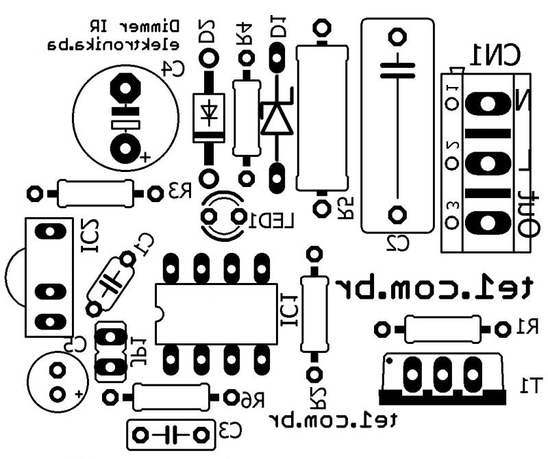 Placa De Circuito Impresso Pcb Do Dimmer Ir Para Lâmpadas Com Triac E Controle Para Controle De Luminosidade De Lâmpadas