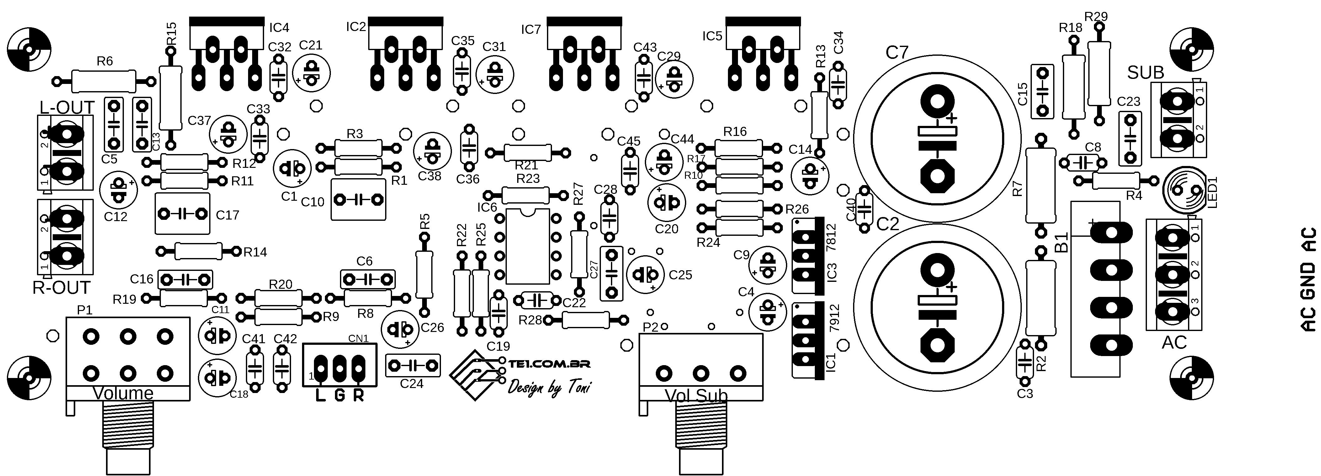 Amplificador De Udio Com Subwoofer 21 Tda2030 Ne5532 Te1 30w Bridge Amplifier Circuit Based Tda2040 Audio Silk Screen Dos Componentes