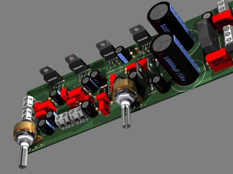 Circuito De Amplificador De Áudio Com Subwoofer Em Montagem Em Ponte - Utilizando 4 Tda2030 E Ne5532 - 2 X 18 + 30 Watts