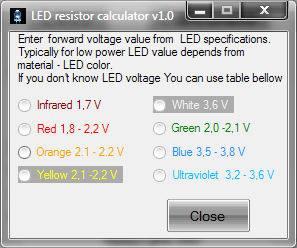 LE  resistor calculator valores padrao Download LED resistor calculator for Windows led Iluminação Download Calculadoras