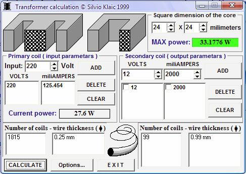 Transformer_Calculation Download software de cálculo de transformadores - Transformer calculator por Silvio Klaic's