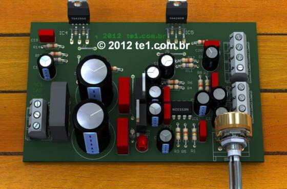 Circuito de Amplificador de potência de áudio estéreo com TDA2050 para 2 x 32 Watts + pré amplificador com Ne5532