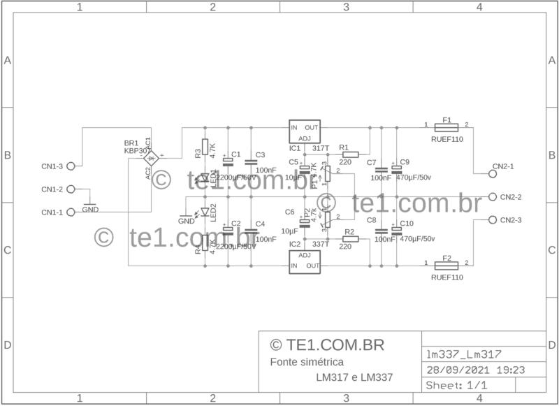 Esquema Circuito Fonte Simétrica Ajustável Com Reguladores De Tensão Positivo E Negativo Lm317 Lm337
