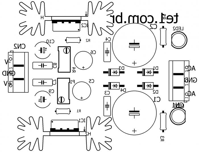fonte simetrica lm317 lm337 silk 700x536 Circuito de fonte simétrica ajustável com LM317 e LM337 estabilizada Pré amplificadores LM Fontes Circuitos