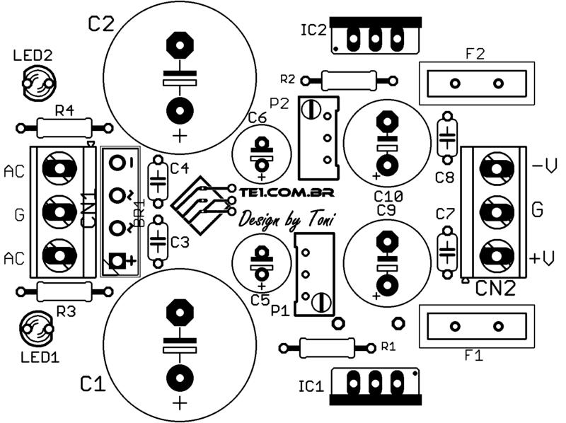 Sugestão De Placa De Circuito Impresso Para Montagem Do Circuito Fonte Simétrica Ajustável Usando Cis Lm317 E Lm337
