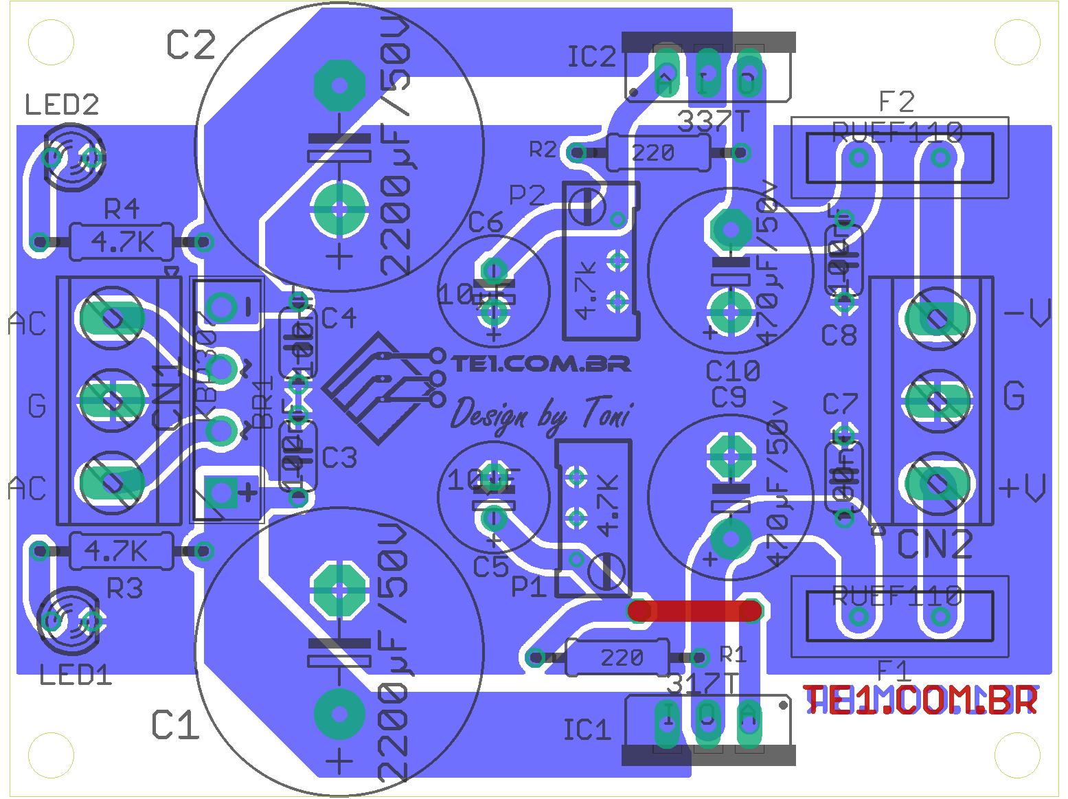 fonte simetrica lm317 lm337 Circuito de fonte simétrica ajustável com LM317 e LM337 estabilizada Pré amplificadores LM Fontes Circuitos
