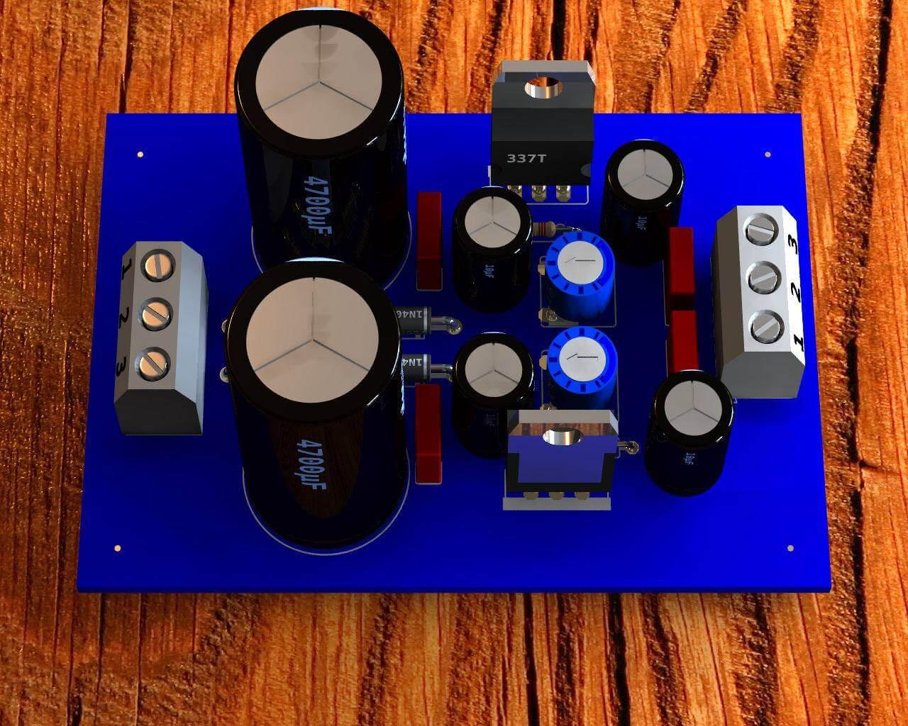 Circuito de fonte de alimentação simétrica ajustável estabilizada utilizando cis reguladores LM317 e LM337 / +- 1.2 a 30 Volts