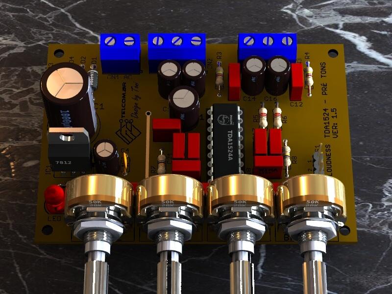 Circuito de pré tonal Estéreo com CI TDA1524A - Com ajuste de Graves (Bass), Agudos (Treble), Balanço (balance) e Volume