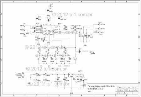 pre tonal Estereo TDA1524A bass treble esquema 450x311 Circuito Pré tonal Estéreo com TDA1524A   Graves e Agudos tda Pré amplificadores Circuitos Áudio
