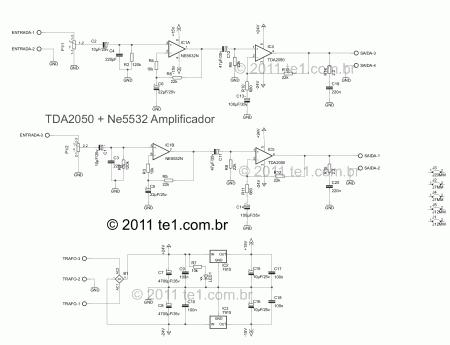 tda2050 ne5532 amplificador esquema 450x345 Amplificador de potência de áudio estéreo com TDA2050 2 x 32 Watts tda Pré amplificadores Circuitos Áudio Amplificadores Amplificador potência amplificador de audio