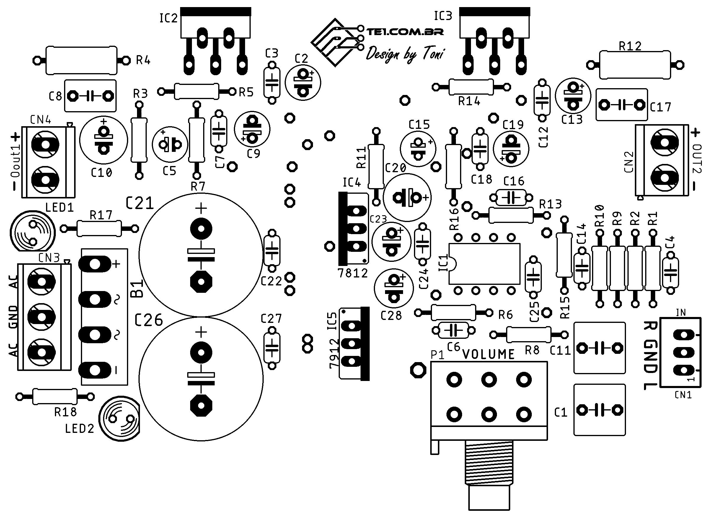 Sugestão de placa de circuito impresso (PCI) para montagem do amplificador estéreo completo com TDA2050