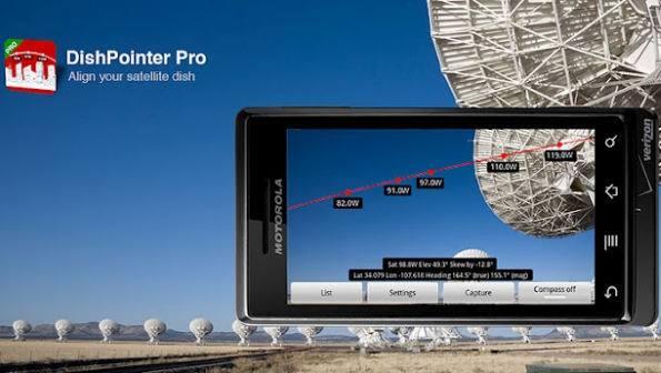 Dishpointer pro android apontamento antena Softwares com cálculos para auxiliar no apontamento de antenas parabólicas para diversos satélites   Para dispositivos móveis com Android e IOs Tutoriais Software de eletrônica parabólica Download dicas como ligar uma antena parabolica Calculadoras Antena