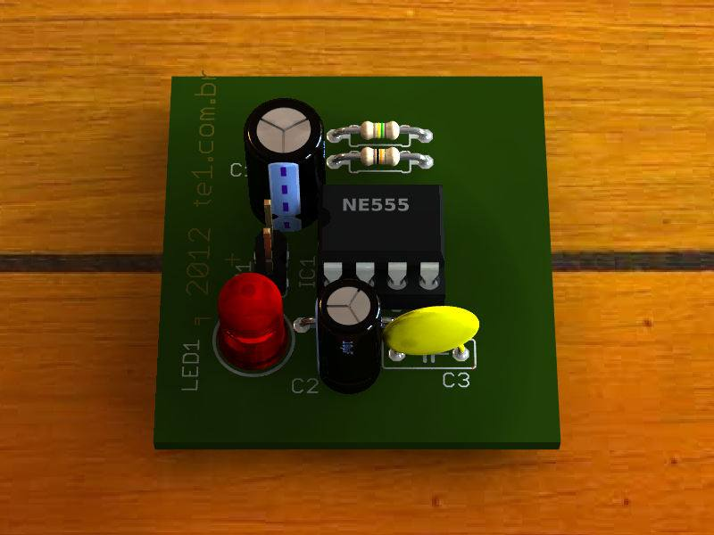 Circuito de indicador de alarme fake para carro e casas - utilizando 555 - Um Pisca leds