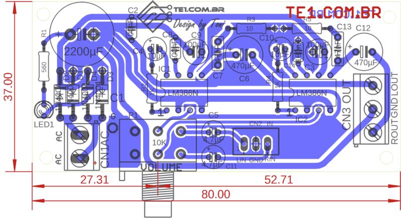 Placa De Circuito Impresso (Pcb) Vista Dos Componentes Do Circuito Com Lm386 Amplificador De Áudio Estéreo Lm386N-1 Lm386N-2 Lm386N-3 Lm386N-4 Lm386N Lm386M Lm386D Jrc386
