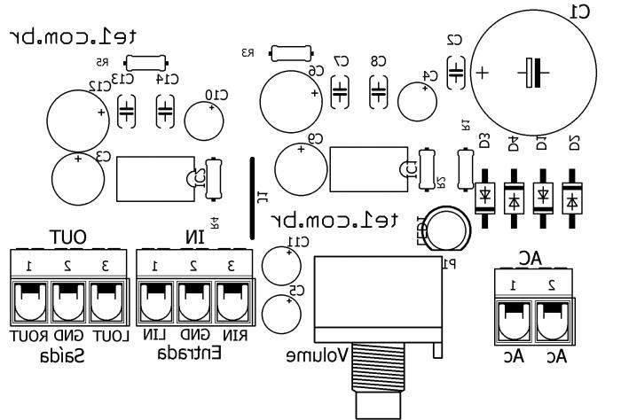 amplificador com ci lm386 silk 700x474 Circuito de Amplificador de áudio estéreo com LM386 LM Áudio