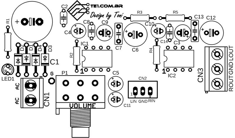 Placa De Circuito Impresso (Pcb) Silk Dos Componentes Do Circuito Com Lm386 Amplificador De Áudio Estéreo Lm386N-1 Lm386N-2 Lm386N-3 Lm386N-4 Lm386N Lm386M Lm386D Jrc386