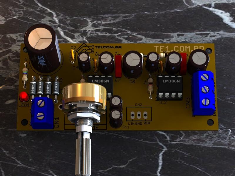 Circuito amplificador lm386 estereo