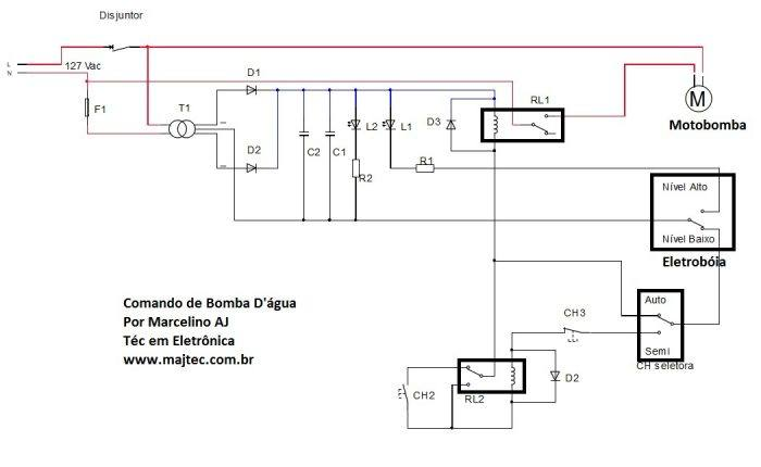 comandodebombadagua1 700x430 Controle automático de bomba dágua com indicador de caixa dágua cheia   muito simples Controle
