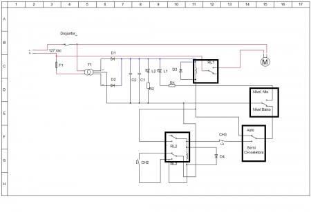 esquema controle automático de bomba dágua com indicador de caixa dágua cheia2 450x3081 Controle automático de bomba dágua com indicador de caixa dágua cheia   muito simples Controle