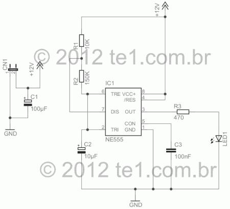 simulador alarme 555 led esquema 450x410 Circuito de indicador de alarme fake para carro e casas led Iluminação Dicas Circuitos Automotivo