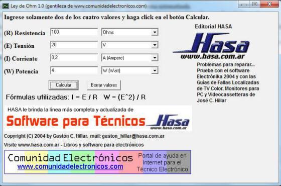 Download Software para cálculo automático da lei de Ohms, Resistência, Tensão, Corrente e Potência