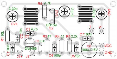 Layout 450x228 Transmissor de FM com saída amplificada   BD135 Transmissores Fm Transmissores e RF Transmissores Circuitos