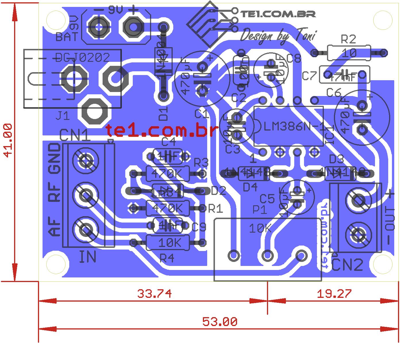 seguidor de sinal Pesquisador de audio lm386 Circuito de seguidor de sinal Pesquisador  de áudio com LM386 Pré amplificadores dicas de conserto Dicas Circuitos Áudio